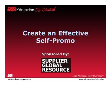 Create an Effective Self-Promo - Advertising Specialty Institute