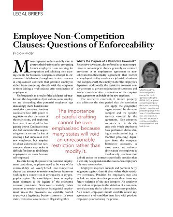 Employee Non-Competition Clauses: Questions of Enforceability