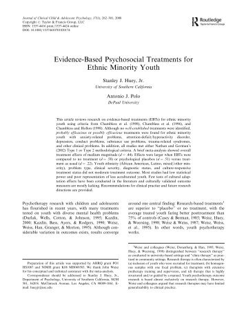 Evidence-Based Psychosocial Treatments for Ethnic Minority Youth