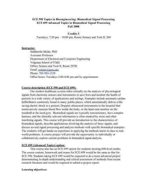 Ece 590 Topics In Bioengineering Biomedical Signal Processing