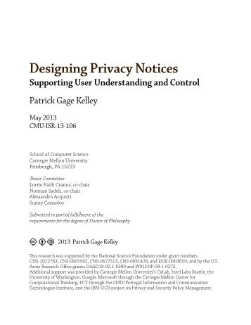 Designing Privacy Notices - scs technical report collection ...