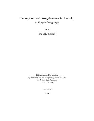 Perception verb complements in Akatek, a Mayan language