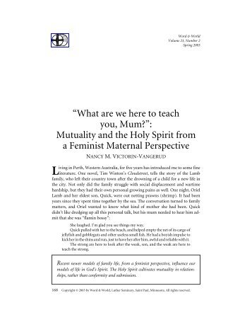 """""""What are we here to teach you, Mum?"""": Mutuality and the Holy Spirit ..."""