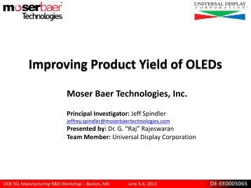 Improving Product Yield of OLEDs - EERE