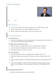 Prof. Dr. Axel Schlich Born: 1961 Studies and degrees: Professional ...