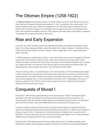 The Ottoman Empire (1258-1922) Rise and Early Expansion ... - Bvsd