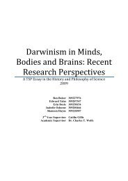 Darwinism in Minds, Bodies and Brains - The University of Sydney