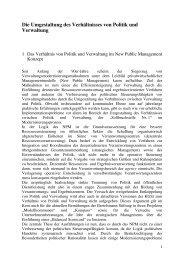 Die Umgestaltung des Verhältnisses von Politik und Verwaltung