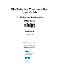 Elo Entuitive Touchmonitor User Guide for 17