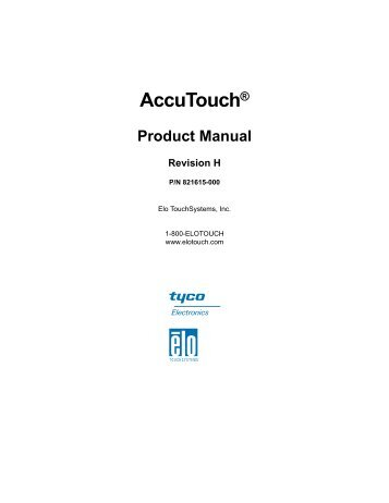 AccuTouch Product Guide - Elo TouchSystems