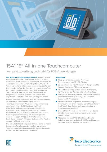 """15A1 15"""" All-in-one Touchcomputer Elo TouchSystems"""
