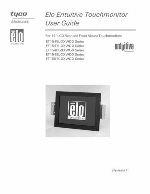 "Elo Entuitive Touchmonitor User Guide for 15"" LCD Rear- and Front ..."
