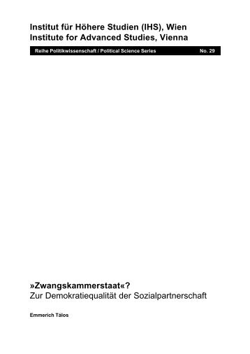 Zwangskammerstaat«? - Institute for Advanced Studies
