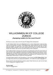 WILLKOMMEN IM ICF COLLEGE ZÜRICH - ICF Zürich