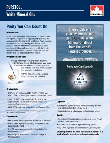 PuretolTM White Mineral oils Purity You Can Count On - Petro-Canada