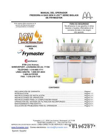 manual del operador freidora a gas gen ii lov™ serie ... - Frymaster