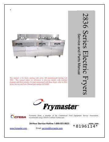 pro h50 55 series gas fryers service and parts manual frymaster 2836 series electric fryers service and parts manua frymaster