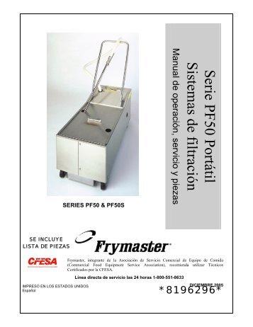 Serie PF50 Portátil Sistemas de filtración - Frymaster