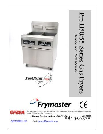 pro h50 55 series gas fryers service and parts manual frymaster rh yumpu com Frymaster Pasta Cooker Gas Frymaster Contactor Wiring Diagram