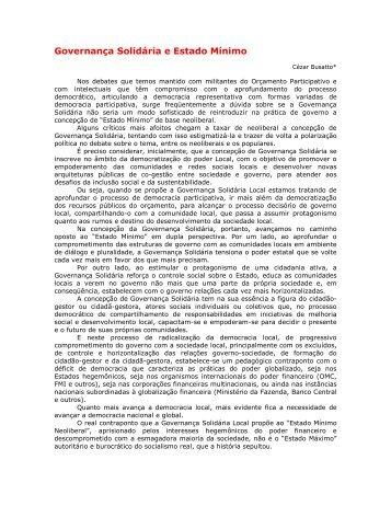 Governança Solidária e Estado Mínimo - Procempa