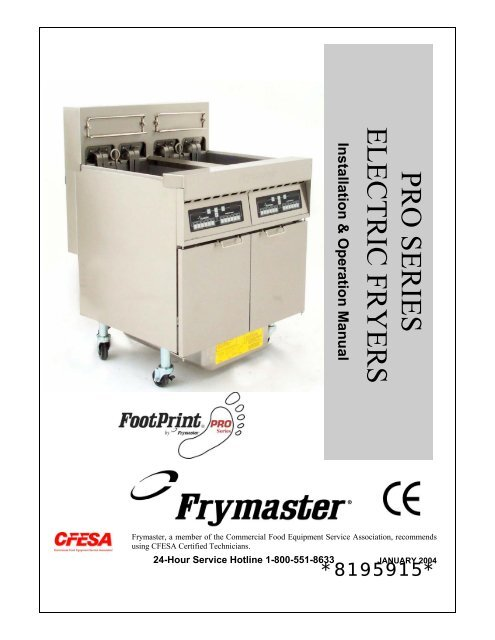 pro serieselectric fryers frymaster