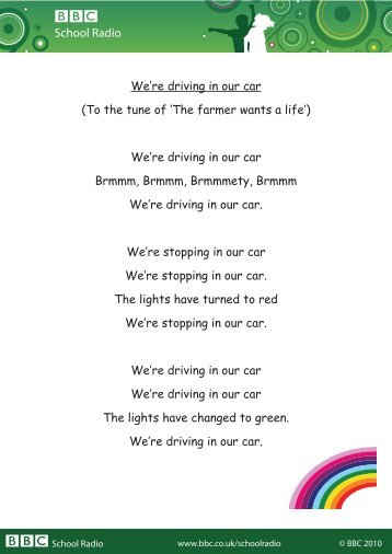 School Radio We're driving in our car (To the tune of 'The ... - BBC