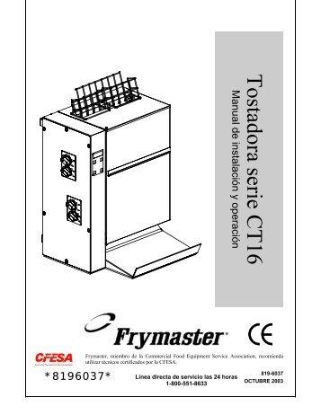 *8196037* Manual de instalación y operación - Frymaster
