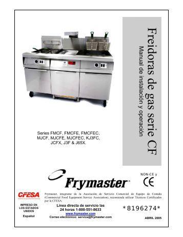 *8196274* Freidoras de gas serie CF Manual de ... - Frymaster