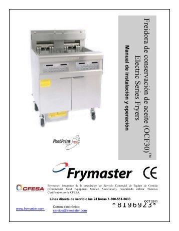 freidora eléctrica serie ocf30 - Frymaster