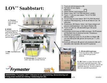 LOV™ Snabbstart: - Frymaster