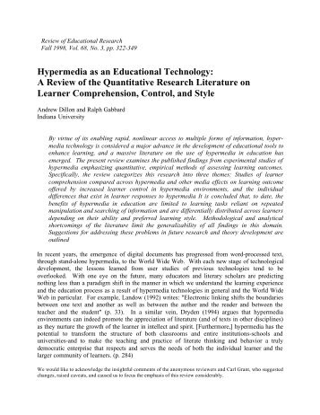 Hypermedia as an Educational Technology: A Review of the ...