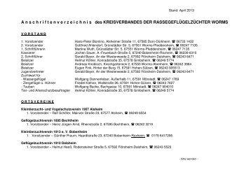 Anschriftenverzeichnis Kreisverband Worms 2013 - Landesverband ...