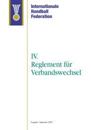 IV. Reglement für Verbandswechsel - IHF