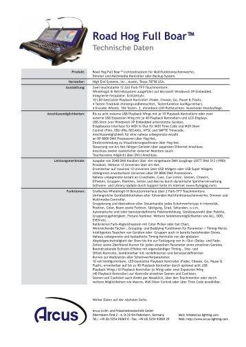 Road Hog Full Boar™ Technische Daten - Arcus Licht ...