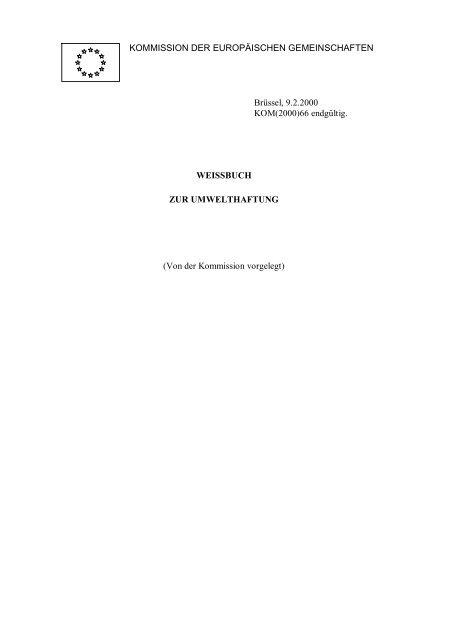 Weißbuch zur Umwelthaftung - EUR-Lex - Europa