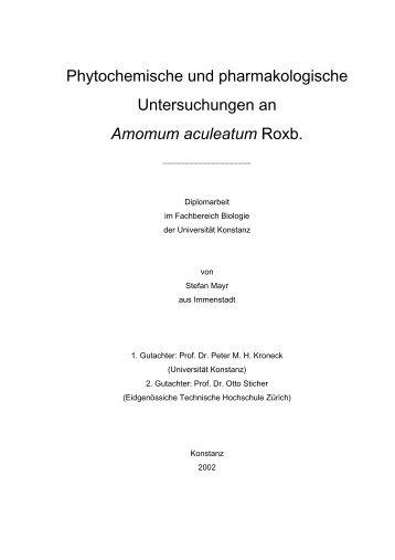 Phytochemische und pharmakologische Untersuchungen an ...