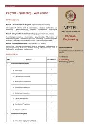 Polymer Engineering - Web course Chemical Engineering - nptel