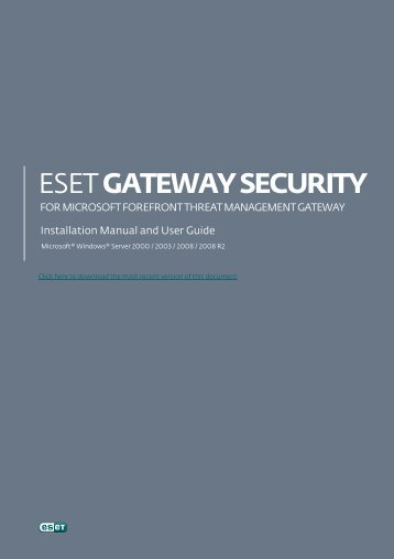 Installation manual and user guide - Eset