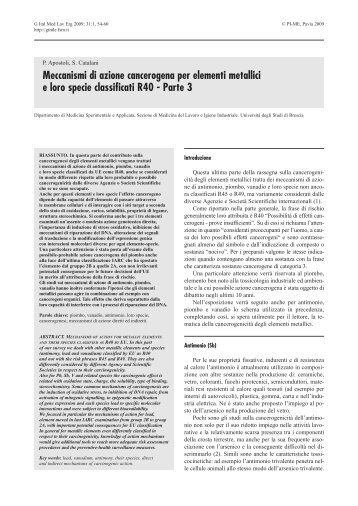 Meccanismi di azione cancerogena per elementi metallici e loro ...