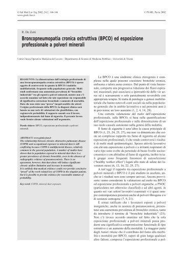 Broncopneumopatia cronica ostruttiva (BPCO) - Giornale Italiano di ...