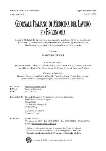 Indice - Giornale Italiano di Medicina del Lavoro ed Ergonomia ...