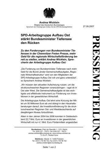 PRESSEMITTEILUNG Spd-Arbeitsgruppe Aufbau ... - Andrea Wicklein