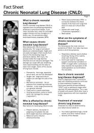 Fact Sheet Chronic Neonatal Lung Disease - Kids Health @ CHW