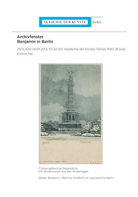 Archivfenster Benjamin in Berlin - Akademie der Künste