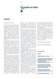 Korruption im Sport (Dossier 2013) - Transparency International