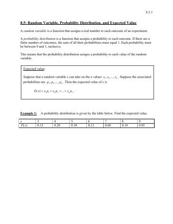 8.5: Random Variable, Probability Distribution, and Expected Value