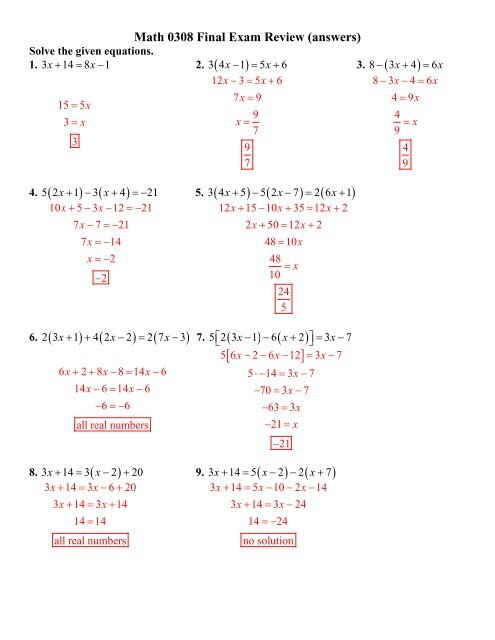 Math 0308 Final Exam Review (answers)
