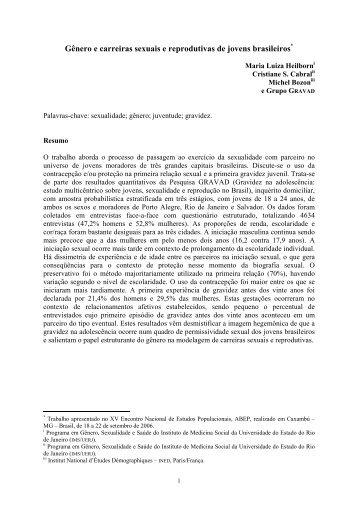 Gênero e carreiras sexuais e reprodutivas de jovens brasileiros