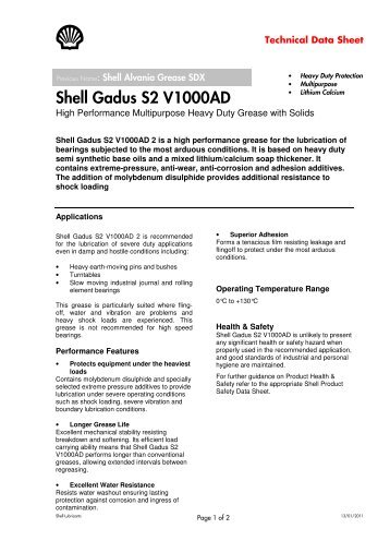 Shell Gadus S2 V1000AD - Parsian Super Lubricants