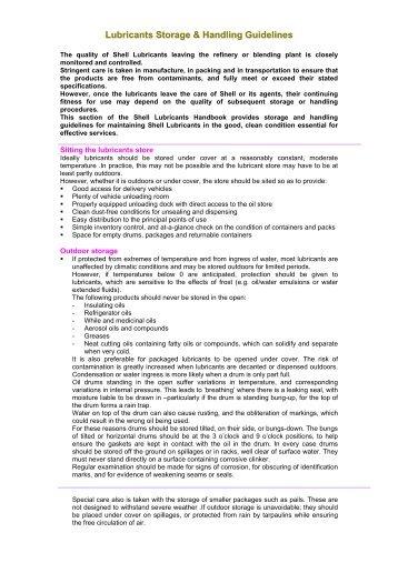 Lubricants Storage & Handling Guidelines - Parsian Super Lubricants